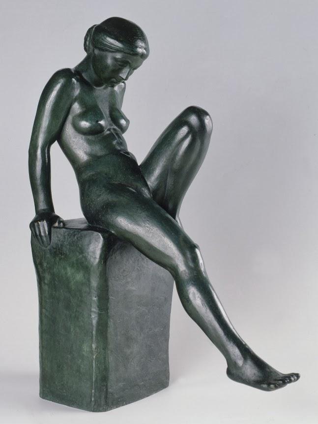 JANE POUPELET Baigneuse au bord de l'eau, vers 1911 BRONZE 0 PATINE VERTE