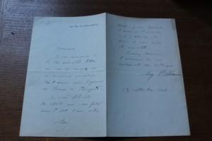 courrier authentique d'Auguste Rodin